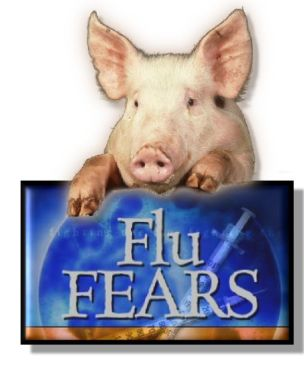 "Picture of a pig leaning on top of a sign that says ""Flu Fears""."