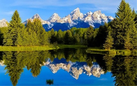 Majestic Mountains Water Reflection Trees Hd Wallpapers 1080p