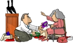 Shoe Salesman Helping a Senior Woman Try on Shoes in a Shoe Store Clipart