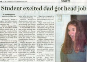 student excited dad got head job