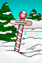 north pole sign cartoon