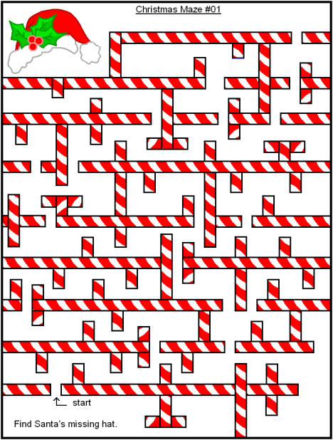 Christmas Maze - Candy Cane Santa Hat