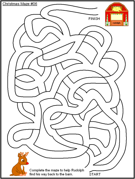 Christmas Themed Mazes, Coloring Pages & Word Search Fun