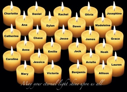 Sandy Hook Memorial Eternal Light Candles