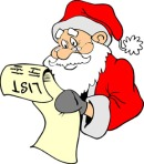 santa checking list cartoon